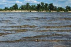 Små vågor nära kusten (floden Desna Ukraina) Arkivfoto