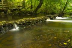 Små vattenfall, Dinglenaturreserven Llangefni. Lång expo Arkivfoto