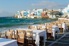 Små Venedig, Mykonos ö, Grekland royaltyfria bilder