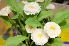 Små vita konstgjorda blommor för hem- dekor Royaltyfri Foto