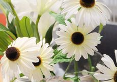 Små vita konstgjorda blommor för hem- dekor Arkivfoton