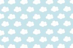 Små vita moln med cyan pastellfärgad modellbakgrund Abstrakt sömlös minimalism Måla tecknad filmstil vektor illustrationer