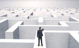 Småföretagare i en mitt av en labyrint arkivfoton