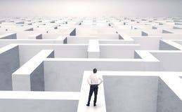 Småföretagare i en mitt av en labyrint stock illustrationer