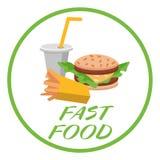 Småfiskar, hamburgare och sodavatten för lunch franska Plan design Vektorillustration av snabbmat stock illustrationer