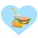 Småfiskar, hamburgare och sodavatten för lunch franska Plan design Vektorillustration av snabbmat royaltyfri illustrationer