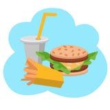 Småfiskar, hamburgare och sodavatten för lunch franska Plan design Vektorillustration av snabbmat vektor illustrationer