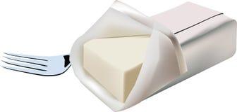 Smörbulle på vit bakgrund med gaffeln Royaltyfria Bilder