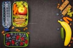 Smörgås, äpple, druva, morot, bär i plast- lunchask och b Royaltyfri Foto