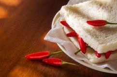 Smörgås för chilipeppar Arkivfoto