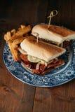 Smörgås för pojke för korvpo-` med franska småfiskar Royaltyfri Foto