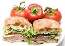 smörgås för stek för ciabatta för ost för nötköttboursinbröd arkivbilder
