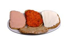 Smörgås med chutney som är ajvar Royaltyfri Fotografi
