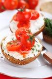 Smörgås med den slappa ost och tomaten Royaltyfria Bilder