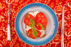 Smörgås med den vita sås och tomaten Arkivfoton