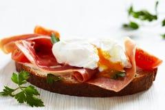 Smörgås med det tjuvjagade ägget Arkivbild
