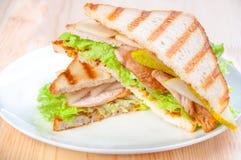 Smörgås med kalkon, ost och grönsaker, arkivbilder