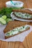 Smörgås med keso Royaltyfria Bilder