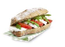 Smörgås med mozerella och tomaten Arkivfoto