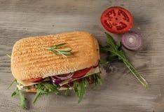 Smörgås med salami och arugula arkivfoton