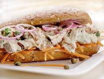 Smörgås med sallad av makrillen Arkivbilder