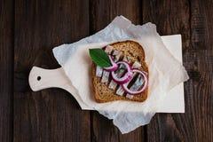 Smörgås med sillen Arkivbilder