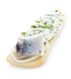 Smörgås med sillen och örter som isoleras Fotografering för Bildbyråer