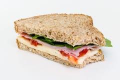Smörgås med skinka och chese Arkivbild