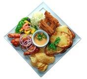 Smörgås med stekt kyckling Arkivbilder