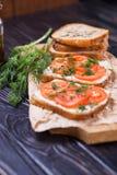 Smörgås med tomater Royaltyfri Bild