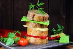 Smörgås med tre ostar Royaltyfria Foton