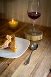 Smörgås och en stearinljus Arkivfoton