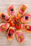Smörgåsar av vitt bröd, lögn som en cirkel, med salami, skinka, ch arkivbild