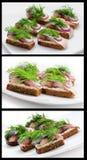 smörgåsar för brödsillrye Royaltyfria Foton