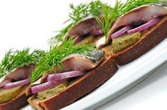 smörgåsar för brödsillrye Arkivfoton