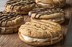 Smörgåsar för marshmallow för jordnötsmör Royaltyfri Bild