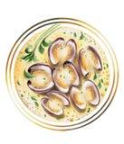 Smörgåsar med kräm- getost, blåbär och honung vektor illustrationer