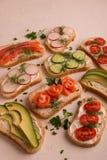 Smörgåsar med laxen, gurkan, tomater, avokadon och gräsplaner, skivad grönsak royaltyfri bild