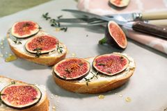 Smörgåsar med ost och fikonträd royaltyfri fotografi