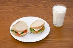 Smörgåsar på en platta och ett exponeringsglas av mjölkar på en träbakgrund arkivbild