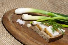 Smörgåsen med rimmat späcker på rågbröd Royaltyfri Foto