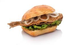 Smörgåsrulle med stekt cirklar och grönsallat för sillfisklök royaltyfri fotografi