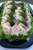 Smörgåstårta med skaldjur Fotografering för Bildbyråer