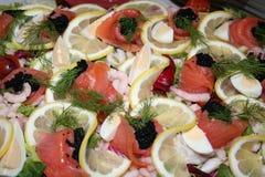 Smörgåstårta med skaldjur Royaltyfria Foton