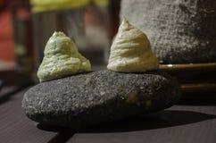 Smörkräm från kryddor på stenen Arkivbild