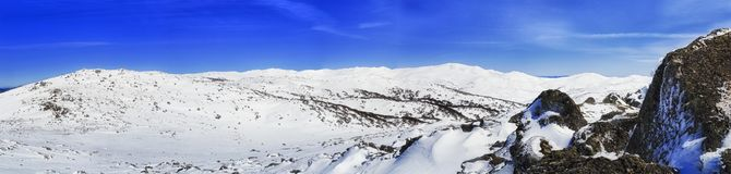 SM Back Perisher Mt Top Snow Pan Stock Photos