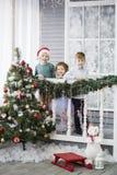 Sm? barn i f?rv?ntan av det nya ?ret och jul Tre lilla ungar har gyckel och spelar n?ra julgranen arkivbilder