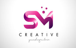 Sm-bokstav Logo Design med lilafärger och prickar vektor illustrationer