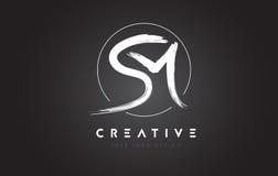 SM Brush Letter Logo Design. Artistic Handwritten Letters Logo C Royalty Free Stock Photo