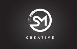 SM Circular Letter Logo with Circle Brush Design and Black Backg Royalty Free Stock Images